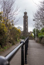 Way up to Calton Hill with Nelson monument Royalty Free Stock Photo