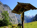 Wayside cross in the bavarian alps Stock Image