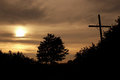 Wayside cross in the dusk Royalty Free Stock Photo