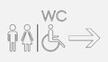 WC, toilet line vector icon.