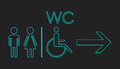 WC, toilet neon vector icon.