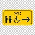 WC, toilet vector icon . Men and women sign for restroom on yell
