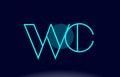 wc w c blue line circle alphabet letter logo icon template vector design