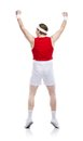 Weak body builder funny tries to exercise studio shot on white background Stock Images