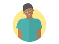 Weak, sad, depressed black boy in glasses. Flat design icon. Handsome man with feeble depression emotion. Simply editable