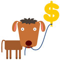 Wealth on balloon a dog carrying a shaped like a dollar sign Stock Photo