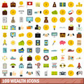 100 wealth icons set, flat style