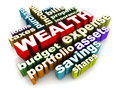 Wealth and related money words on white concept of making and management Royalty Free Stock Photography