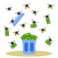 Wealth in trash a humorous illustration of flies carrying money from a bin Stock Images