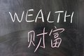 Wealth word in chinese and english written on the chalkboard Stock Photos