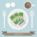 Wealthy food with coffee vector Stock Photos
