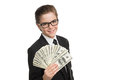 Wealthy little businessman cheerful boy in formalwear holding money and looking at camera while isolated on white Stock Photo
