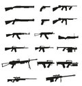 Weapon and gun set icons black silhouette Stock Photo