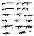 Zbraň a pištole sada ikony čierny silueta