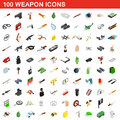100 weapon icons set, isometric 3d style