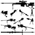 Weapon silhouette set Royalty Free Stock Photos