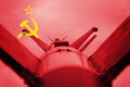 Weapons of mass destruction. Soviet Union ICBM missile. War Back Royalty Free Stock Photo