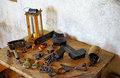 Weapons and medieval torture instruments Royalty Free Stock Photo