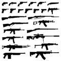 Weapons silhouettes set of on white background various design of guns rifles assault rifle machine gun kalashnikov and many others Royalty Free Stock Photo