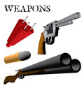 Weapons various and ammunition in perspective Stock Image