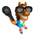 Wear sunglasses d horse character point a microphone d animal design series Royalty Free Stock Photography