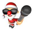 Wear sunglasses d santa character point a microphone d christ christmas design series Royalty Free Stock Images