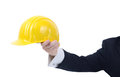 Wear your hard hat saftey office or site manager holding out a advising of saftey Stock Image