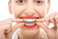 Wearing orthodontic silicone trainer closeup portrait of charming woman Royalty Free Stock Image