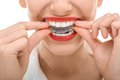 Wearing orthodontic silicone trainer closeup portrait of charming woman Royalty Free Stock Photo