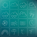 Weather chalky icons illustration of white doodles Stock Photography