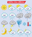 Weather characters vector of icon Royalty Free Stock Photo
