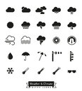 Weather and climate glyph icons set