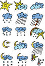 Weather Color Icons Royalty Free Stock Photography