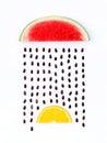 Weather concept, watermelon and orange shape of rainy season. pa