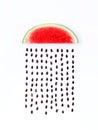 Weather concept, watermelon shape of rainy season. part of a wea