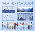 Weather condition news report climate forecasting meteorology te temperature concept Royalty Free Stock Images