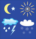 Weather and day and night icons Stock Photos