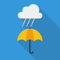 Weather flat icon rainy and umbrella with long shadow Stock Images