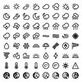 The weather flat icons black set of about Stock Photography