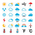 Weather forecast colorful icons set conditions seasons and temperature symbols isolated on white Stock Images