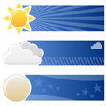 Weather forecast horizontal banners a collection of three with the sun clouds and the moon on blue background eps file available Royalty Free Stock Image
