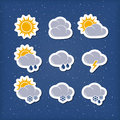 Weather forecast icons editable vector set Royalty Free Stock Images
