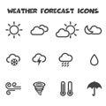 Weather forecast icons mono vector symbols Stock Photo