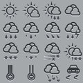Weather forecast icons set summer and winter Royalty Free Stock Photo