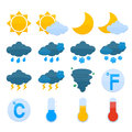 Weather forecast icons set symbols color of sun cloud rain snow isolated vector illustration Stock Photography