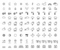 Weather Forecast & Meteorology outline icons Royalty Free Stock Photo