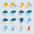 Weather forecast paper set symbols stickers of sun clouds rain and snow isolated vector illustration Royalty Free Stock Photography