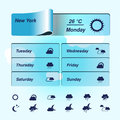 Weather forecast widget banner and symbols illustration Stock Photo