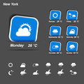 Weather forecast widget banner and symbols illustration Stock Image