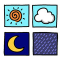 Weather Hand draw cartoon. Stock Image